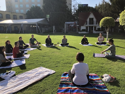 Morning yoga class in Mexico