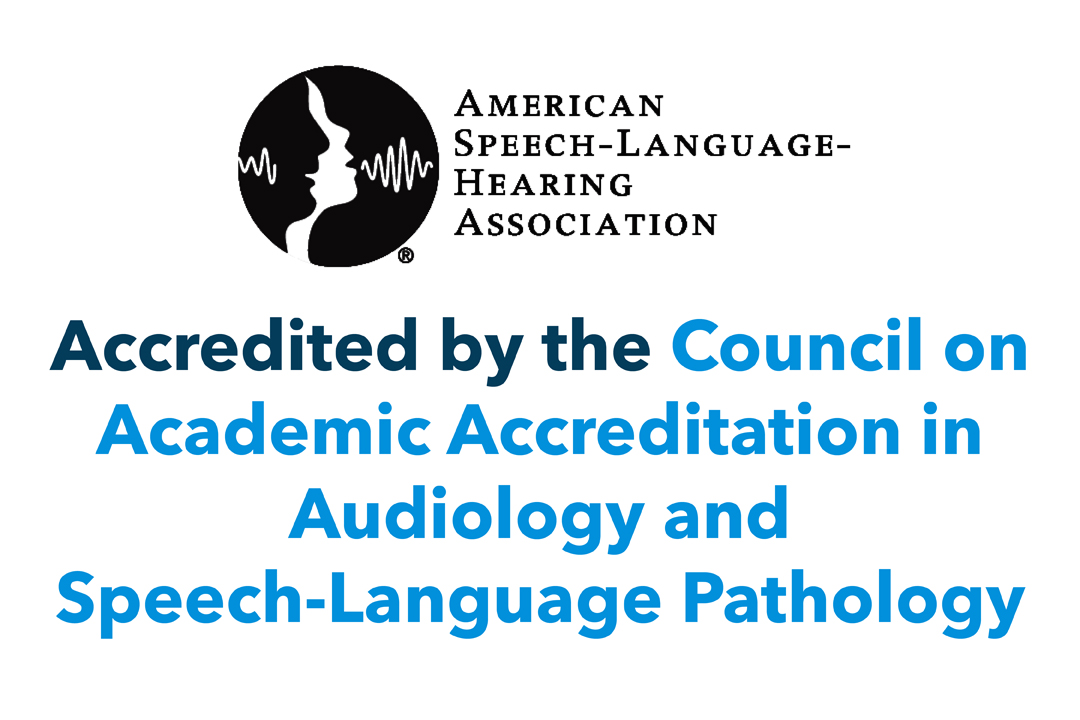 Accredited by the Council on Academic Accreditation in Audiology and Speech-Language Pathology with ASHA Logo (American Speech-Language-Hearing Association)