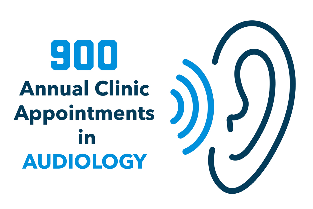 """900 Annual Clinic Appointments in Audiology"" with a graphic of soundwaves traveling into an ear."