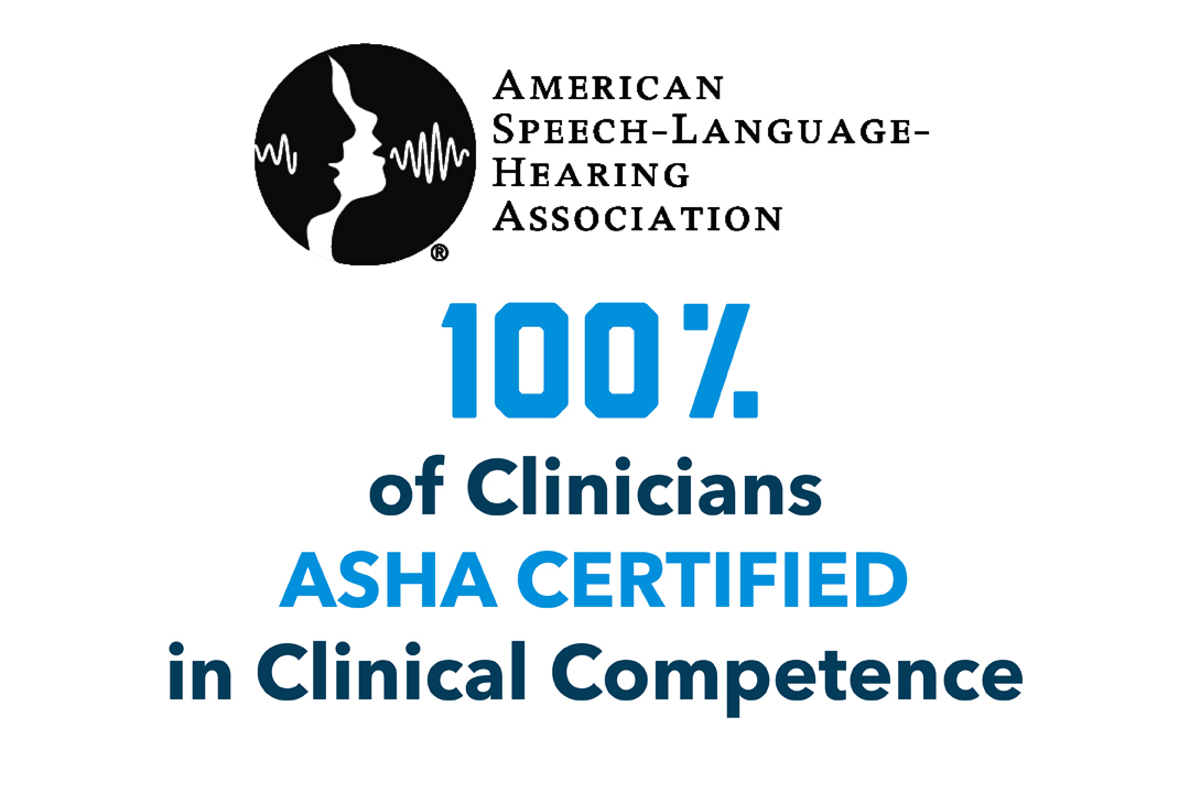 """100% of Clinicians Certified in Clinical Competence"" with the ASHA logo."